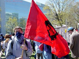 A masked demonstrator carries a flag with Che Guevara's likeness on it.