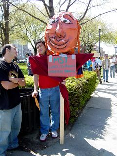 Another street puppet, with this one mentioning Brazil's MST - the landless peasant movement.