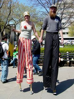 These two people wore stilts, complete with little shoes on the ends!