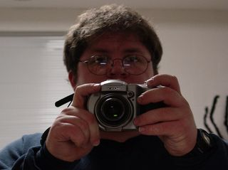 The master at work, taken in the mirror.