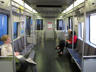 Riding the T for the first time, and taking it all in...