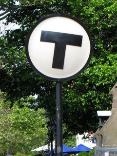 """""""T"""" sign at Copley. This is the MBTA equivalent of WMATA's street pylons."""