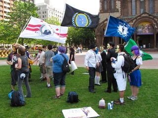 We met the rest of the Anons at Copley Square, and we made sure that our Anonymous DC flag was flying high.