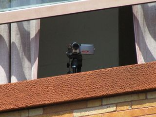Video camera set up in an upper level window, most likely recording our raid. What they expected to get out of this, I'm not sure.