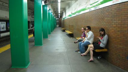 Waiting for the Green Line at Hynes Convention Center station.