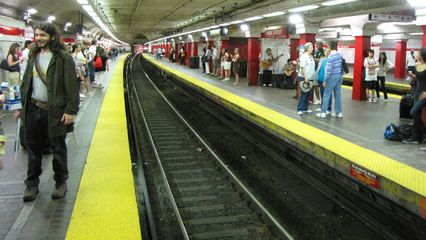 Waiting for a Red Line train at Park Street station, on our way to South Station.