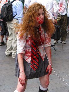 Zombie led around on a leash...