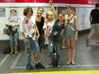 Zombies, post-march, on the platform at Park Street.