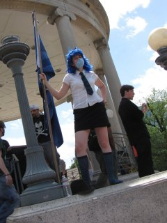 Blue Wig Girl poses for my camera.