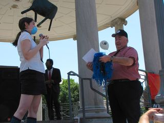 Surprise! Blue Wig Girl also hands Brennan the wig right off her head!