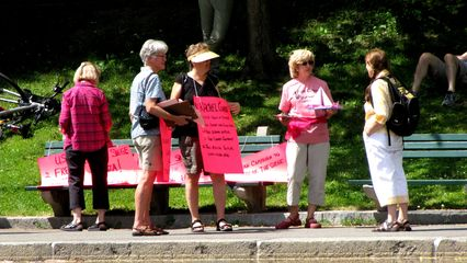 As it turned out, it was Code Pink. I'm used to seeing Code Pink in DC, and am friends with a number of the DC Code Pink folks. Seeing them in Boston was a new experience, though I'm not surprised that they're active in Boston as well.