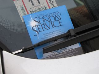 One of the Scientology flyers that we spotted on a car windshield.