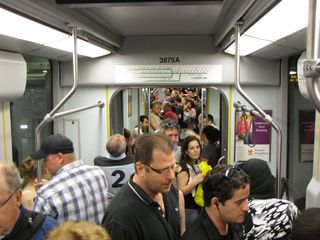 Breda 3875, the Type 8 LRV that took me to Park Street, was pretty crowded!