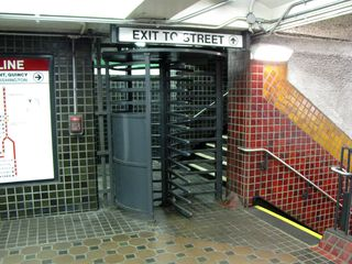 Iron maiden at Park Street. The stair to the right leads down to the Red Line platforms.