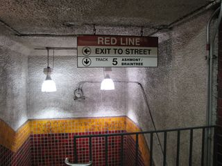 Stairs down to the Red Line platforms.