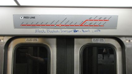 """On board Bombardier 1830, I soon discovered that some people have complaints about the MBTA, with this """"Most Busted Transportation Around"""" message. Obviously, they've not seen WMATA lately..."""