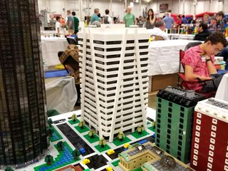 Various high-rise buildings constructed from Legos.