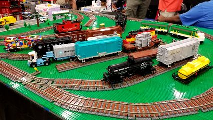 Railroad freight yard and locomotive.