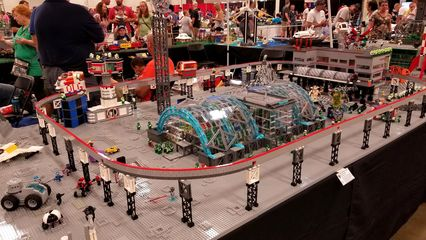 """Another Lego monorail, though not built on the Futuron system. This was part of a much larger space base, called """"Lunar Arboretum and Solar"""" by Mark Anderson of Chesapeake, Virginia."""