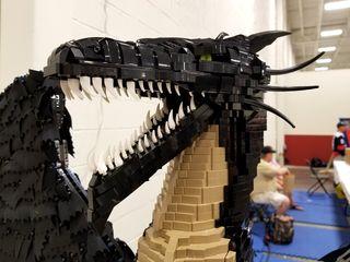 "Lego dragon, called ""Rubik's Guardian"", by Tristan Cain of Southwick, Massachusetts."