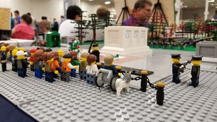 The Tomb of the Unknowns from Arlington National Cemetery, reproduced in Lego form.