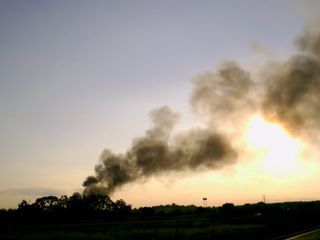 Heavy smoke visible from Interstate 64