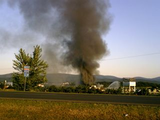 From US 340 at the turn onto Shenandoah Village Drive, the smoke was quite visible.