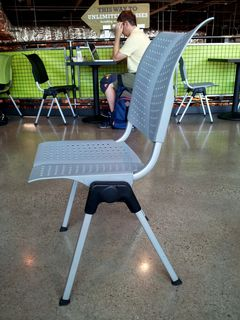 We had lunch at Whole Foods with a coworker of mine who is based in Chicago, and I couldn't help but notice the chairs. The seats of these chairs were hinged, and so they had a rocking movement about them. It wasn't the most comforting thing in the world, as I felt like I was going to get dumped out of them...