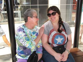 Mom and Sis posed for the camera while we waited for the bus to get to the museum.