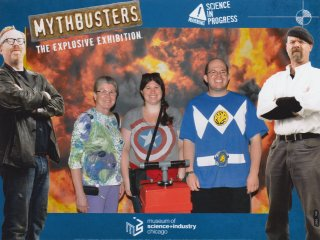 """The three of us posed for photos at the beginning of the Mythbusters exhibit. First we posed normally (left), and then we were supposed to look scared or something for the second one. I hadn't quite read the entire memo on the second one by the time that they took the photo, and so the photo ended up being described as """"scared, crazed, clean hands!"""""""