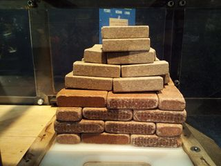 """This part of the Mythbusters exhibit tested the """"Three Little Pigs"""" theory about houses built with straw, sticks, and bricks. Needless to say, the house I built, shown here, isn't going anywhere. And considering I built it without doors or windows, I think that the occupants of this house wouldn't be going anywhere, either..."""