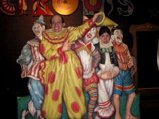All of us took a moment to pose with the clown cutouts. Mom and I just smiled, while Sis made various faces for the photos.