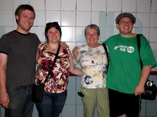 Since this was out last night in Chicago, we got group photos. We did this at Chicago station. First I took a picture of Mom, Sis, and Chris, and then when a woman walked by, I got her to take a picture of all of us.