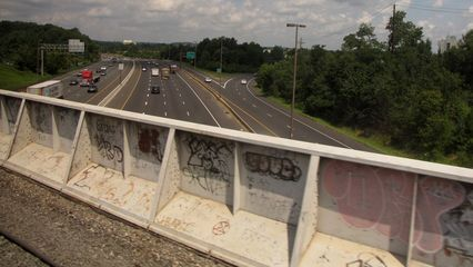 """Crossing Interstate 270 in Montgomery County. This is the bridge that is marked """"Railroad Bridge"""" if you're driving the highway. Northbound Exit 11 is visible in the photo."""