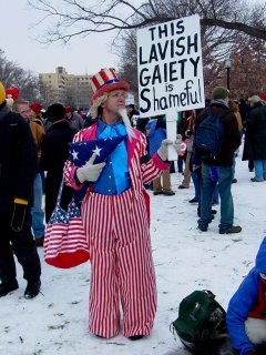 The crowd was enthusiastic, and took various approaches from statistical to graphic, voicing dissatisfaction with the Bush administration in so many different ways.