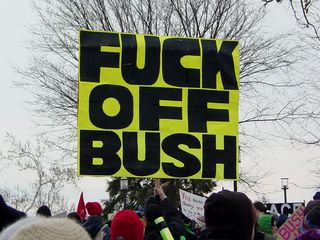 This sign was by far the largest sign raised up in the march, and definitely made its point known by dropping a few F-bombs.