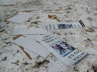 This pile of torn and discarded signs was what remained of the signs of a counter-protest by Protest Warrior. This counter-protest sparked a conflict with the black bloc, and DAWN marshals ultimately had to intervene to restore peace between the two factions.