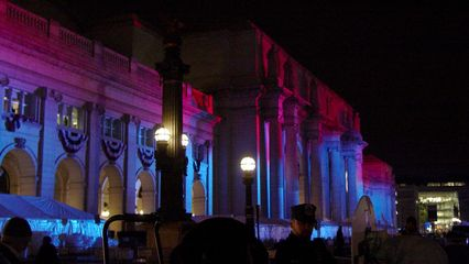 Union Station was indeed looking beautiful for this inaugural ball, with the red and blue lights shining across the front of the building.