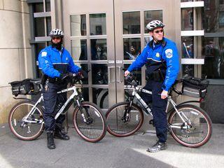 Cops blocking off the doors.