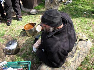 Feeding the homeless man we found near Rock Creek Parkway.