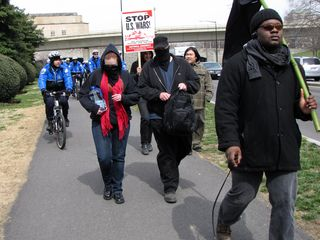 Marching south along Rock Creek Parkway.