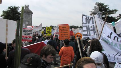 The march continues over Memorial Bridge, and into Virginia.