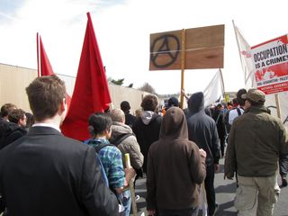 Marching down the ramp and onto the Pentagon Reservation.
