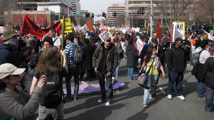 The crowd at the end of the march route in Crystal City.
