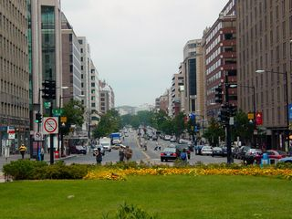 As you can see, Farragut Square really is a rare green spot in this part of DC, looking here up Connecticut Avenue towards Dupont Circle.
