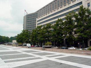 This is Freedom Plaza. Look familiar? No? Understandable. This is what it looks like on a normal day. Very open, with an almost empty feeling to it. This, if you recall, is where the protest started out.
