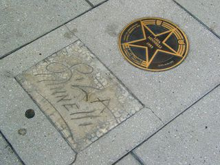 So many performers, and they've gotten to put their name in concrete. We have their name in a disk set in the concrete, plus they signed the concrete. Here, we have Whoopi Goldberg, Liza Minnelli, and Frank Sinatra.