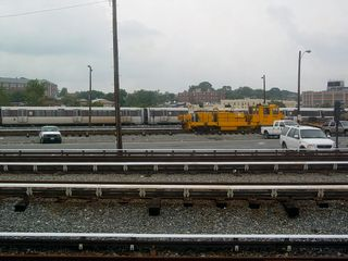 From Metro Center, we headed towards Fort Totten station aboard Breda 2059. Between the Union Station and Rhode Island Avenue stations, along with construction of the New York Avenue in-fill station, is Brentwood Yard. This is a train yard along the Red Line where trains are serviced. Also notice the yellow-orange work cars around here.