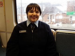 On March 3, my friend Elyse and I went to Baltimore. Elyse had managed to acquire a Metro uniform on eBay (seriously!) just before this, and she had it on for this particular outing. She looked ready to drive, don't you think?