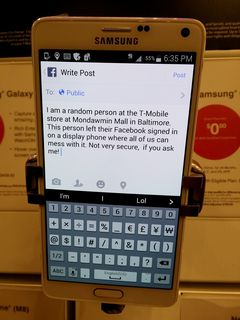 Elyse and I eventually made our way to Mondawmin Mall, and eventually found our way to the T-Mobile store. There, I seized an opportunity to troll someone. There's a lesson to be learned here, and that lesson is that if you sign onto Facebook on a demo phone, sign out before you walk away. Ferebee Laverne was destined to learn this the hard way, when I left a little note on her wall, under her name. I think I made my point.